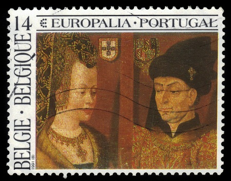 Belgium  - CIRCA 1991 A stamp printed in Belgium  shows diptych Isabella of Portugal and Philip the Good by early netherlandish artist Jan van Eyck, circa 1991 Stock Photo
