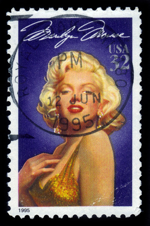 marilyn: UNITED STATES - CIRCA 1995  A stamp printed in USA shows actress Marilyn Monroe  1926-1962 , series Legends of Hollywood, circa 1995