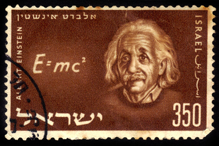 ISRAELE - CIRCA 1956 un francobollo stampato in Israele mostra un ritratto del fisico e matematico, premio Nobel Albert Einstein, circa 1956 Archivio Fotografico - 27344169
