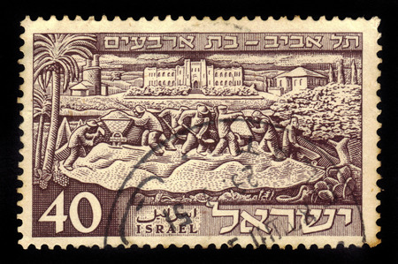 ISRAEL - CIRCA 1951  a stamp printed in the Israel shows founding of Tel Aviv, issued in honor of the 40th anniversary of Tel Aviv, circa 1951
