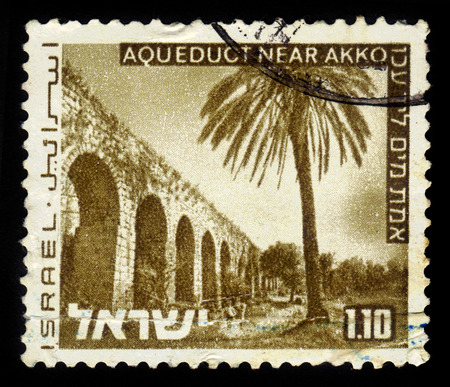 ancient near east: ISRAEL - CIRCA 1973  A stamp printed in Israel, shows aqueduct near Akko in the north of Israel,  series  Landscapes of Israel , with inscription  aqueduct near Akko , circa 1973 Stock Photo