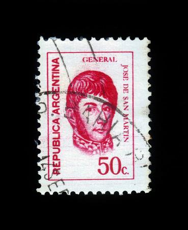 jose de san martin: ARGENTINA - CIRCA 1973  a stamp printed in the Argentina shows Jose de San Martin, General, circa 1973