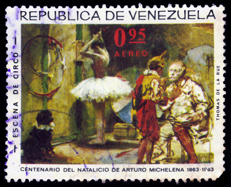 arturo: VENEZUELA - CIRCA 1963  A stamp printed in Venezuela showing painting by venezuelan painter Arturo Michelena, Circus scenes, circa 1963 Stock Photo