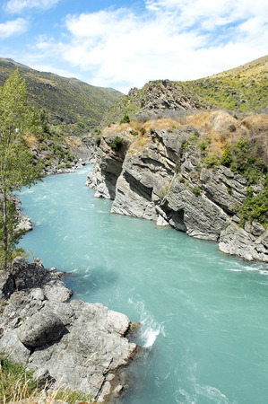 picturesque landscape with river in New Zealand Stock Photo