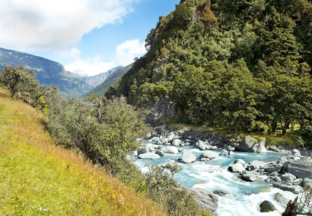 picturesque landscape with river in New Zealand photo