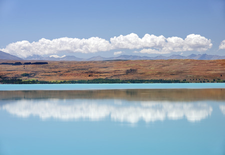picturesque landscape with a lake in the south of New Zealand Stock Photo