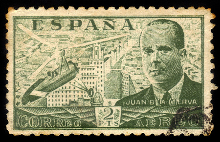 aeronautical: SPAIN - CIRCA 1939  A stamp printed by Spain, shows Juan de la Cierva and Autogiro, was a Spanish civil engineer, pilot and aeronautical engineer, circa 1939 Editorial