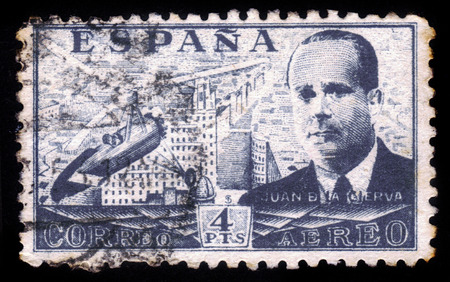 SPAIN - CIRCA 1939  A stamp printed by Spain, shows Juan de la Cierva and Autogiro, was a Spanish civil engineer, pilot and aeronautical engineer, circa 1939