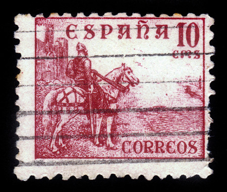 nobleman: SPAIN - CIRCA 1938  A stamp printed in Spain shows El Cid Campeador a Castilian nobleman, military leader, and diplomat, circa 1938 Editorial