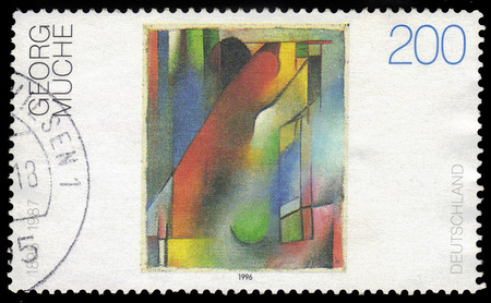 GERMANY - CIRCA 1996  a stamp printed in the Germany shows abstract painting by Georg Muche, german painter, printmaker, architect, author and teacher, circa 1996