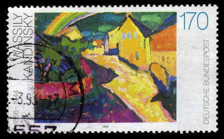 kandinsky: GERMANY - CIRCA 1992  a stamp printed in the Germany shows rainbow in Murnau, painting by Wassily Kandinsky, russian expressionist and abstract painter, circa 1992