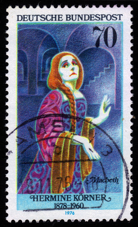 macbeth: GERMANY - CIRCA 1976  a stamp printed in Germany shows german actress, director and theater manager, Hermine Korner  1878-1960  as Lady Macbeth, series, circa 1976