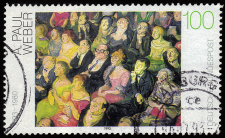 weber: GERMANY - CIRCA 1993  a stamp printed in the Germany shows Audience, Painting by Andreas Paul Weber, german artist and cartoonist, circa 1993