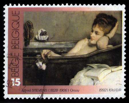 Belgium - CIRCA 1992 A stamp printed in Belgium shows a painting the bath by belgian painter Alfred Stevens, circa 1992