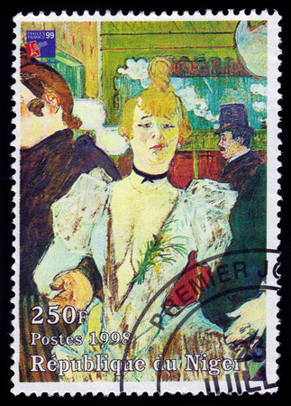 henri: Republic of Niger - CIRCA 1998 A stamp printed in Republic of Niger shows a painting of La Goulue arriving at the Moulin Rouge by french painter Henri De Toulouse-Lautrec  post-Impressionist painter , circa 1998 Editorial