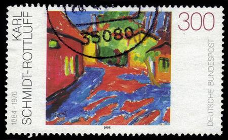 printmaker: GERMANY- CIRCA 1995  stamp printed in Germany, shows Gutshof in Dangast, by Karl Schmidt-Rottluff, circa 1995