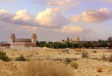view of the greek orthodox monastery of st Gerasimos Deir Hajla , near Jericho, Israel