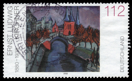 expressionist: GERMANY - CIRCA 2002  A stamp printed in Germany shows the painting  Elisabethufer  by Ernst Ludwig Kirchner, german expressionist painter, circa 2002  Editorial
