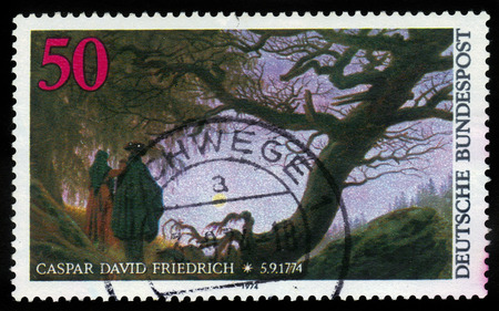 caspar: GERMANY - CIRCA 1974  A postage stamp printed in the West Germany shows painting  Man and Woman looking at the Moon  by Caspar David Friedrich, circa 1974 Editorial