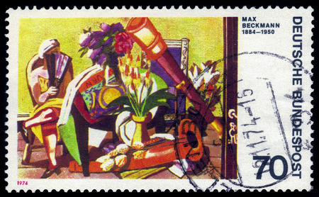 expressionist: GERMANY - CIRCA 1974  a stamp printed in germany shows Big Still-life, painting by Max Beckmann, german expressionist painter, circa 1974 Editorial