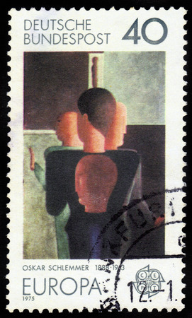 choreographer: GERMANY - CIRCA 1975  A stamp printed in Germany shows the abstract painting by Oskar Schlemmer, german  painter, sculptor, designer and choreographer, Bauhaus school, circa 1975