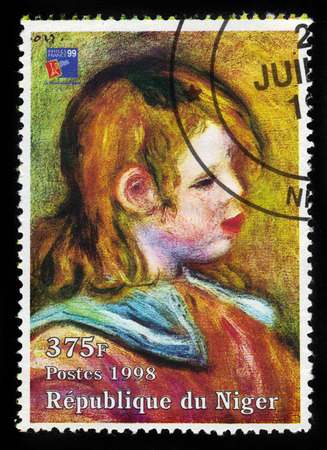 pierre: REPUBLIC NIGER - CIRCA 1998  A stamp printed in Niger shows painting by Pierre Auguste Renoir, portrait of Coco, Claude Renoir  1905, private collection , series, circa 1998 Editorial