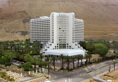 Dead Sea, Ein Bokek, Israel - May 28  view of the David Spa Hotel   606 standard rooms and suites   on the background of the Judean Hills, on May 28, 2014 in Ein Bokek, Dead Sea, Israel