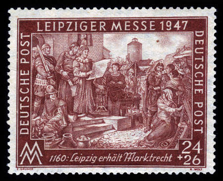 definitive: Alemania - alrededor de 1947 A veces el sello de la ocupaci�n aliada impreso en Alemania muestra alem�n de grabado, dedicado a Leipzig Feria de Primavera de 1160, la serie, alrededor del a�o 1947 Editorial