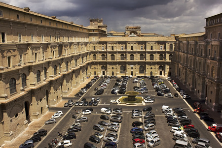 catholical: Vatican, Rome, Italy - June 30  car parking in the courtyard of the Vatican, on June 30, 2014 in Vatican, Rome, Italy