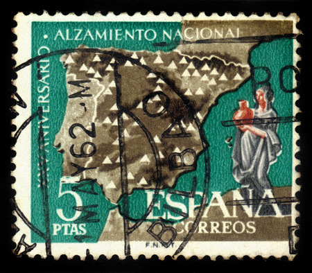 SPAIN - CIRCA 1961  stamp printed by Spain, shows map of Spain showing electricity power stations, dedicated to XXV Anniversary of National Uprising, circa 1961 Editorial