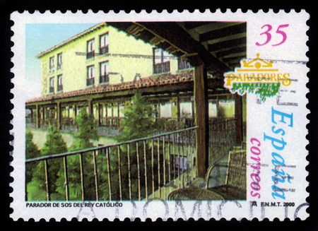 SPAIN - CIRCA 2000  stamp printed by Spain, shows Parador Sos del Rey Catolico in the town of the same name located in the comarca of Cinco Villas, province of Zaragoza, Aragon, Spain, circa 2000