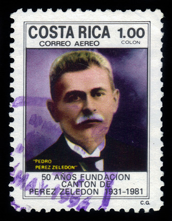 costa rican: Costa Rica - CIRCA 1981  A stamp printed in Costa Rica shows portrait of Pedro Perez Zeledon, costa rican lawyer and diplomat, circa 1981