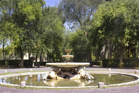 picturesque landscape with fountain, Villa Borghese gardens, Rome