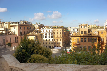 spanish steps: view of the old district of Rome from the height of the Spanish Steps, Italy