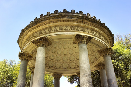 part of pavilion in the shape of a rotunda inside garden and park complex in Villa Borghese, Rome, Italy Stock Photo
