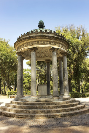pavilion in the shape of a rotunda inside garden and park complex in Villa Borghese, Rome, Italy