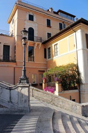 spanish steps: Old house and part of the Spanish Steps