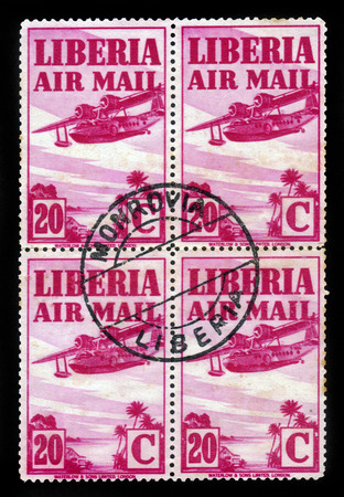 LIBERIA - CIRCA 1938  stamp printed by Liberia, shows Sikorsky Amphibian, american twin-engined 8-seat amphibious aircraft, circa 1938