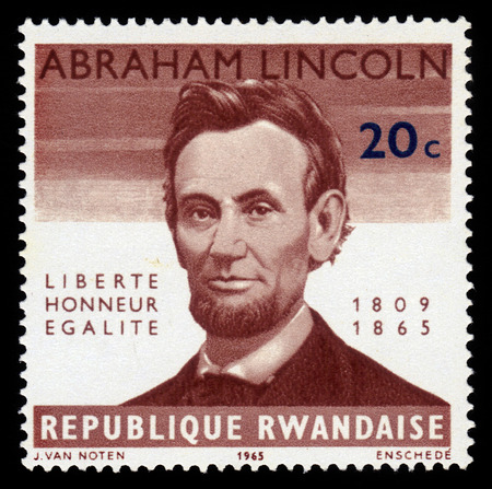 Republic of Rwanda - CIRCA 1965  A stamp printed by Republic of Rwanda shows image portrait Abraham Lincoln, the 16th President of the United States from March 1861 until his assassination in April 1865, brown, circa 1965