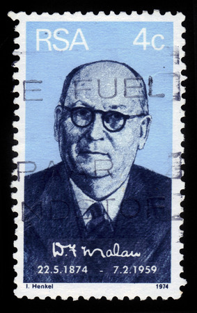 Republic of South Africa - CIRCA 1974  A stamp printed by Republic of South Africa shows portrait  of prime minister Daniel Francois Malan, issued for the birth centenary, circa 1974