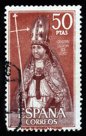 rada: SPAIN - CIRCA 1970  A stamp printed in SPAIN shows image portrait Rodrigo Jimenez  or Ximenez  de Rada was a Navarrese-born Castilian Roman Catholic bishop and historian, circa 1970