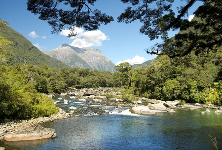 Milford track, picturesque landscape with river in New Zealand Stock Photo