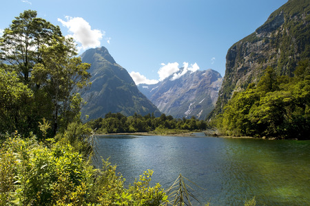 mackinnon: Milford track, picturesque landscape with river in New Zealand Stock Photo
