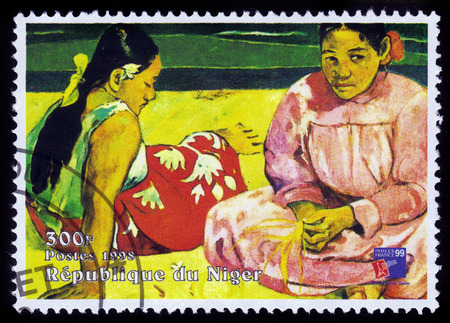 REPUBLIC NIGER - CIRCA 1998  A stamp printed in Niger shows painting by Paul Gauguin, Tahitian Women on the Beach, series, circa 1998