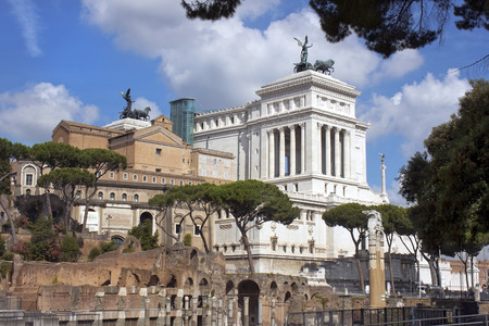 palatine: view of the monument to Vittorio Emanuele from the ruins of famous ancient Roman Forum, Rome, Italy