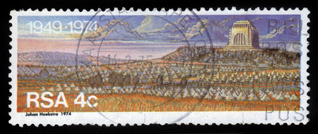 South Africa - CIRCA 1974  A stamp printed in Republic of South Africa  shows Voortrekker Monument in Pretoria, Monument to the pioneers, circa 1974