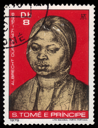 albrecht: Democratic Republic of Sao Tome and Principe - CIRCA 1979  A stamp printed in Portugal shows paintings by Albrecht Durer, the negress Katherina, Galleria degli Uffizi, Florence, circa 1979