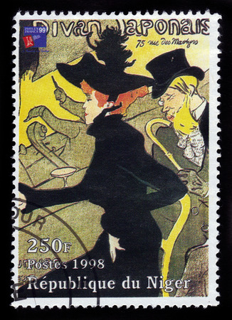 nightspot: Republic of Niger - CIRCA 1998 A stamp printed in Republic of Niger shows a painting of the Divan Japonais by french painter Henri De Toulouse-Lautrec, circa 1998