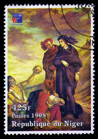 Republic of Niger - CIRCA 1998 A stamp printed in Republic of Niger shows a painting of Hamlet and Horatio in the Graveyard by french painter Eugene Delacroix, circa 1998