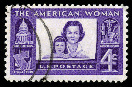 womanhood: USA - CIRCA 1960: a stamp printed in USA shows american woman and her role in society, circa 1960 Editorial
